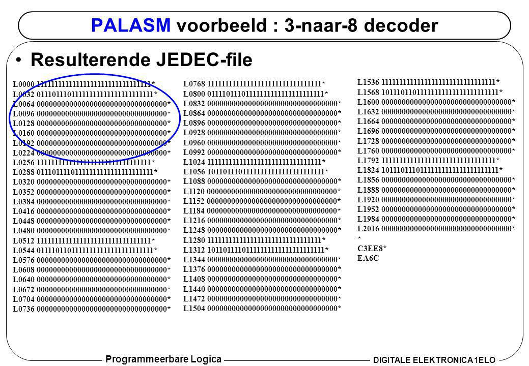 Programmeerbare Logica DIGITALE ELEKTRONICA 1ELO PALASM voorbeeld : 3-naar-8 decoder •Resulterende JEDEC-file L0000 11111111111111111111111111111111*