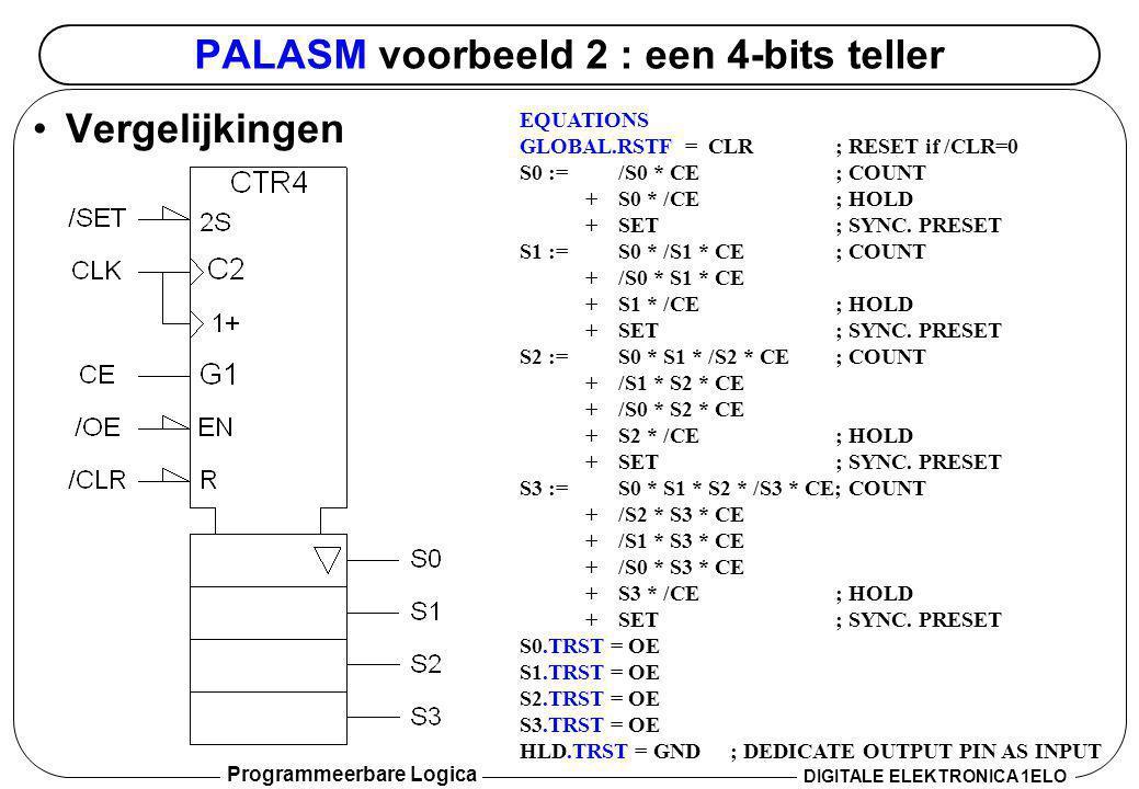 Programmeerbare Logica DIGITALE ELEKTRONICA 1ELO PALASM voorbeeld 2 : een 4-bits teller •Vergelijkingen EQUATIONS GLOBAL.RSTF = CLR; RESET if /CLR=0 S