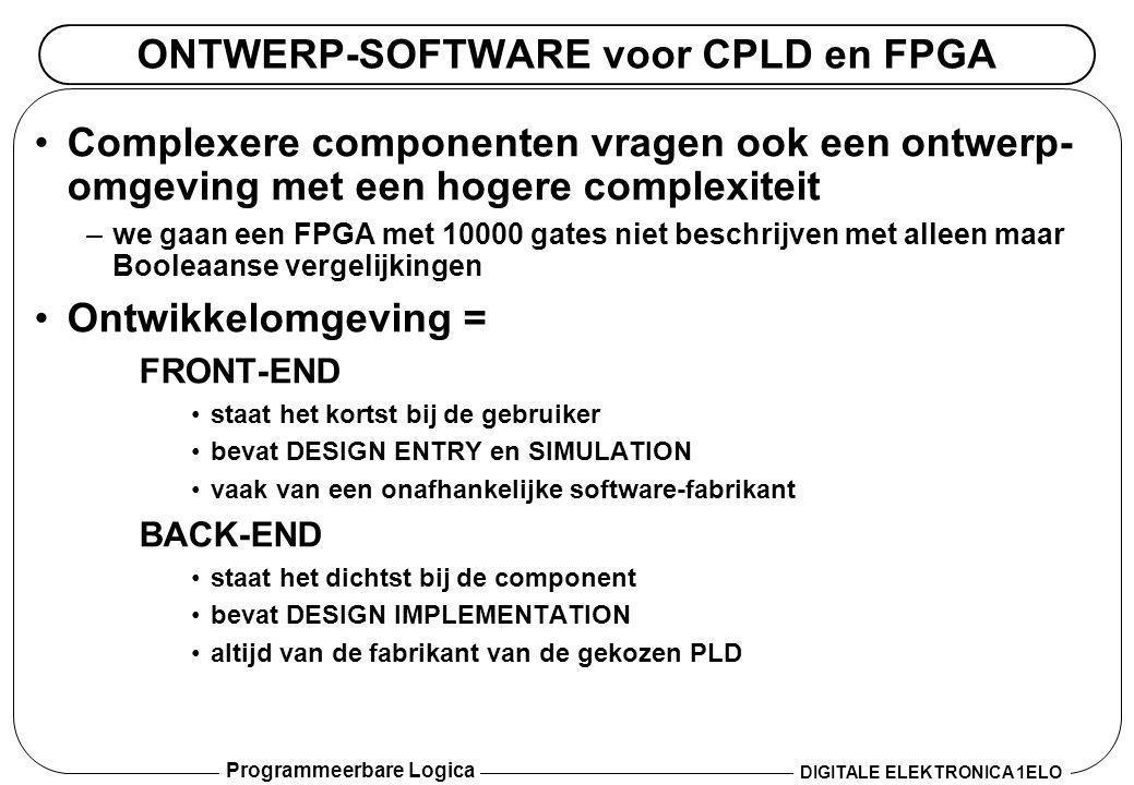 Programmeerbare Logica DIGITALE ELEKTRONICA 1ELO ONTWERP-SOFTWARE voor CPLD en FPGA •Complexere componenten vragen ook een ontwerp- omgeving met een h