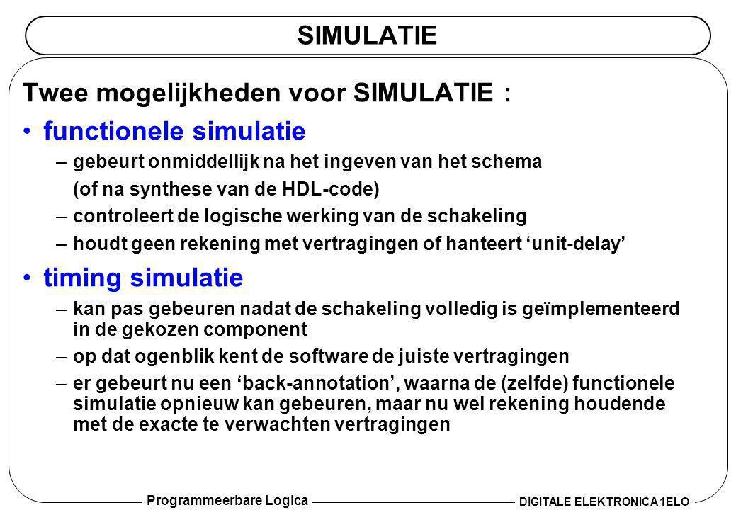 Programmeerbare Logica DIGITALE ELEKTRONICA 1ELO SIMULATIE Twee mogelijkheden voor SIMULATIE : •functionele simulatie –gebeurt onmiddellijk na het ing