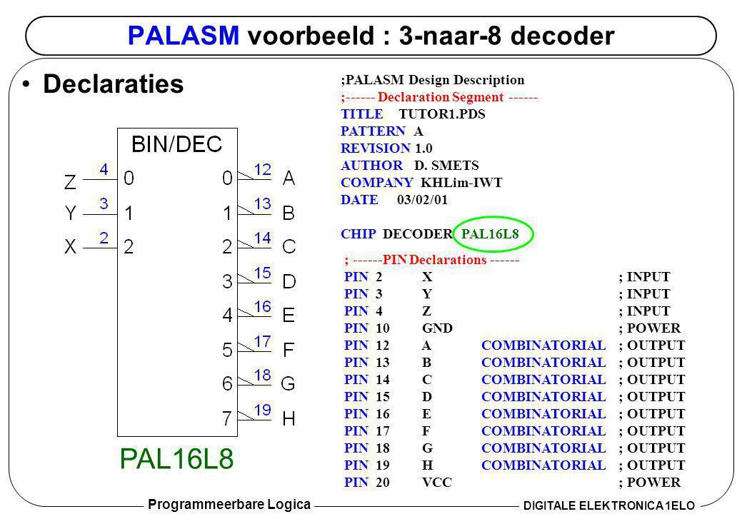 Programmeerbare Logica DIGITALE ELEKTRONICA 1ELO ABEL - voorbeeld 2: 74HC161 (CTR4) MODULE HC161Cnt TITLE 74HC161 4-bit Counter Todd Morton, 11/21/02' //Inputs CLK,LD_L,CLR_L,ENP,ENT pin; A,B,C,D pin; //Output QA,QB,QC,QD pin istype reg ; RCO pin istype com ; //Sets LOADIN = [D,C,B,A]; COUNT = [QD,QC,QB,QA]; //Level Conversions LOAD = !LD_L; CLEAR = !CLR_L; EQUATIONS COUNT.CLK = CLK; COUNT.ACLR = CLEAR; when (LOAD) then COUNT := LOADIN; else when (!ENT) then COUNT := COUNT; else when (!ENP) then COUNT := COUNT; else COUNT := COUNT + 1; RCO = (COUNT == [1,1,1,1]) & ENT; END