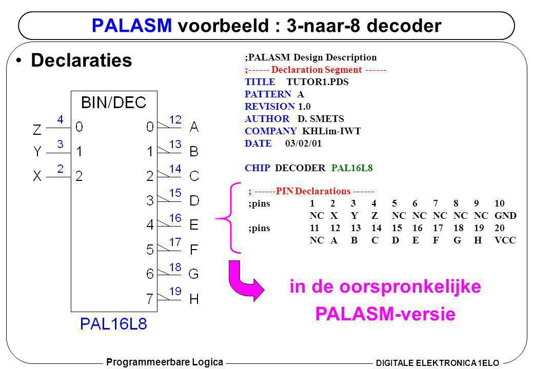 Programmeerbare Logica DIGITALE ELEKTRONICA 1ELO PALASM voorbeeld : 3-naar-8 decoder •Vergelijkingen ; ------PIN Declarations ------ PIN 2 X; INPUT PIN 3 Y; INPUT PIN 4 Z; INPUT PIN 10 GND ; POWER PIN 12 ACOMBINATORIAL; OUTPUT PIN 13 BCOMBINATORIAL; OUTPUT PIN 14 CCOMBINATORIAL; OUTPUT PIN 15 DCOMBINATORIAL; OUTPUT PIN 16 ECOMBINATORIAL; OUTPUT PIN 17 FCOMBINATORIAL; OUTPUT PIN 18 GCOMBINATORIAL; OUTPUT PIN 19 HCOMBINATORIAL; OUTPUT PIN 20 VCC ; POWER ;------ Boolean Equation Segment ------ EQUATIONS /A = /X * /Y * /Z /B = /X * /Y * Z /C = /X * Y * /Z /D = /X * Y * Z /E = X * /Y * /Z /F = X * /Y * Z /G = X * Y * /Z /H = X * Y * Z