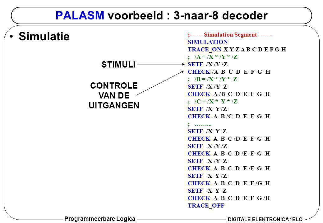 Programmeerbare Logica DIGITALE ELEKTRONICA 1ELO PALASM voorbeeld : 3-naar-8 decoder •Simulatie ;------ Simulation Segment ------ SIMULATION TRACE_ON