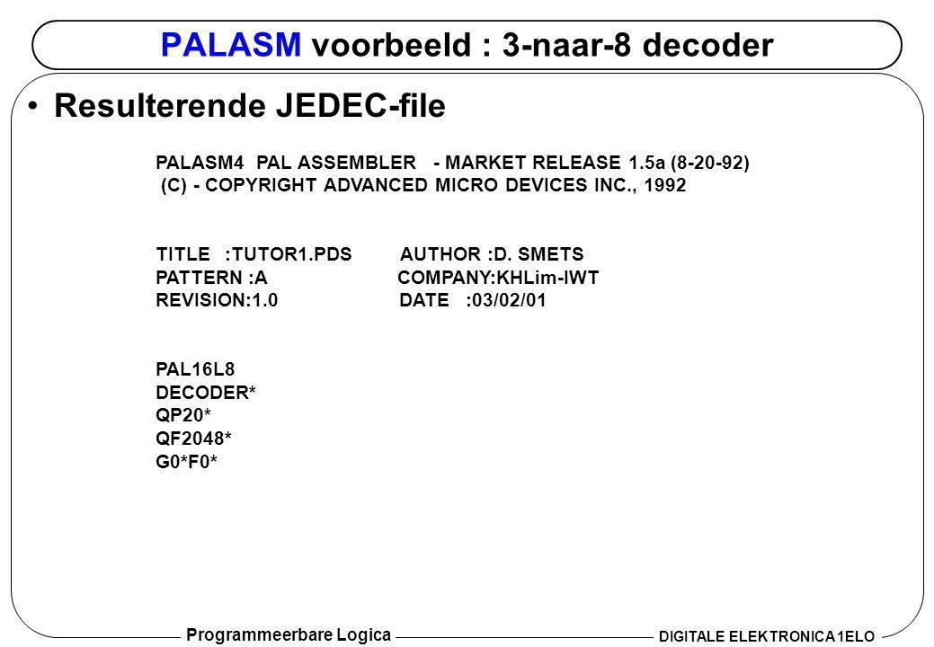 Programmeerbare Logica DIGITALE ELEKTRONICA 1ELO PALASM voorbeeld : 3-naar-8 decoder •Resulterende JEDEC-file PALASM4 PAL ASSEMBLER ‑ MARKET RELEASE 1