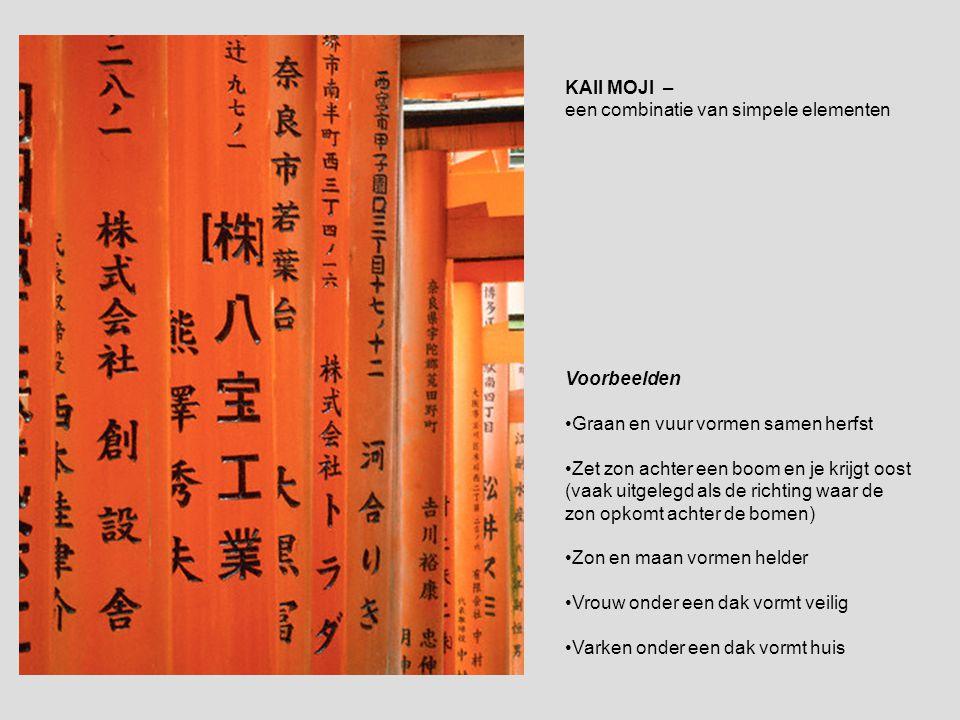 KAII MOJI – een combinatie van simpele elementen Voorbeelden •Graan en vuur vormen samen herfst •Zet zon achter een boom en je krijgt oost (vaak uitge