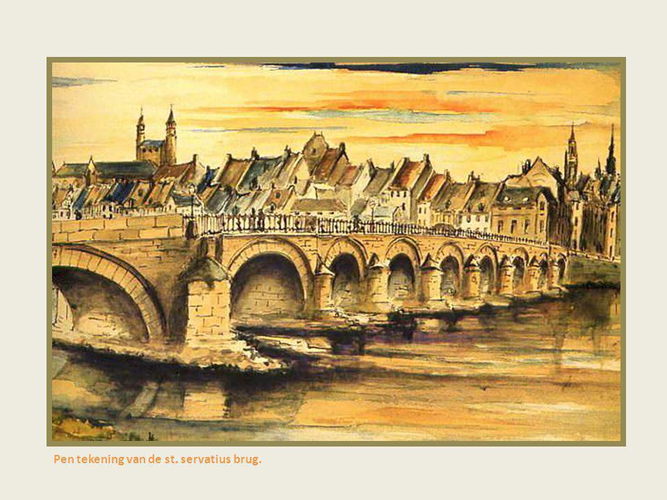 Pen tekening van de st. servatius brug.