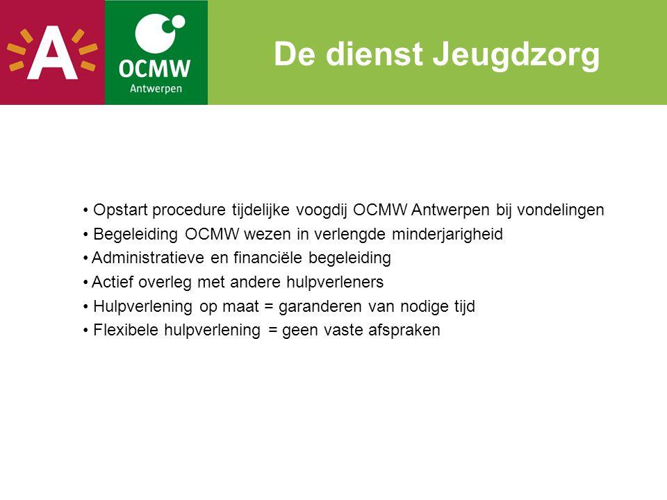 • Opstart procedure tijdelijke voogdij OCMW Antwerpen bij vondelingen • Begeleiding OCMW wezen in verlengde minderjarigheid • Administratieve en finan