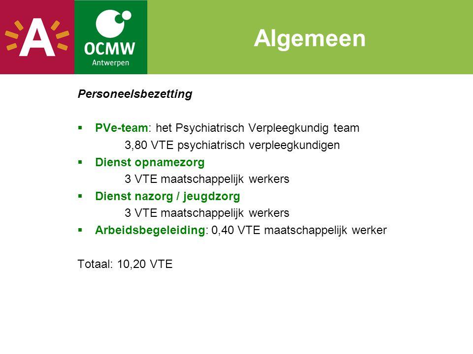Algemeen Personeelsbezetting  PVe-team: het Psychiatrisch Verpleegkundig team 3,80 VTE psychiatrisch verpleegkundigen  Dienst opnamezorg 3 VTE maats