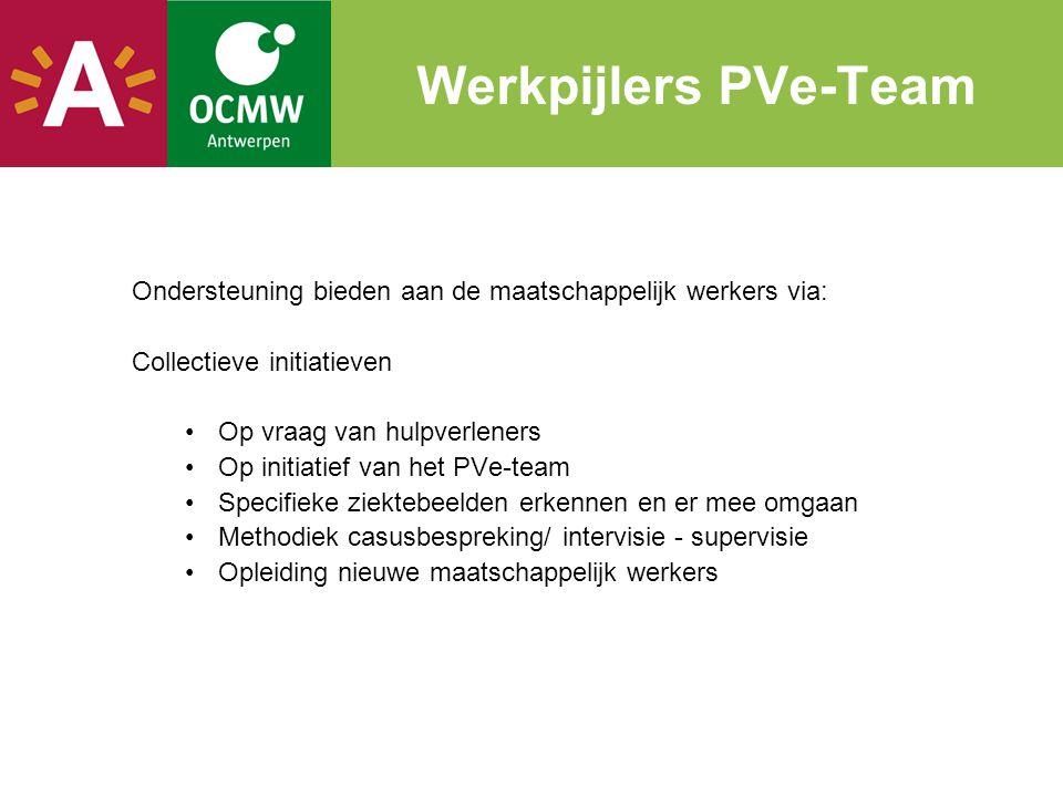 Werkpijlers PVe-Team Ondersteuning bieden aan de maatschappelijk werkers via: Collectieve initiatieven •Op vraag van hulpverleners •Op initiatief van