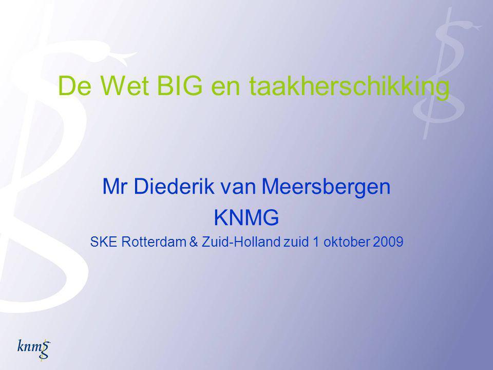 De Wet BIG en taakherschikking Mr Diederik van Meersbergen KNMG SKE Rotterdam & Zuid-Holland zuid 1 oktober 2009