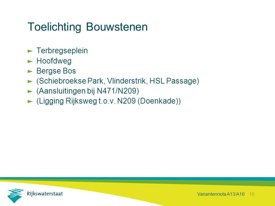 Variantennota A13/A16 10 Toelichting Bouwstenen Terbregseplein Hoofdweg Bergse Bos (Schiebroekse Park, Vlinderstrik, HSL Passage) (Aansluitingen bij N