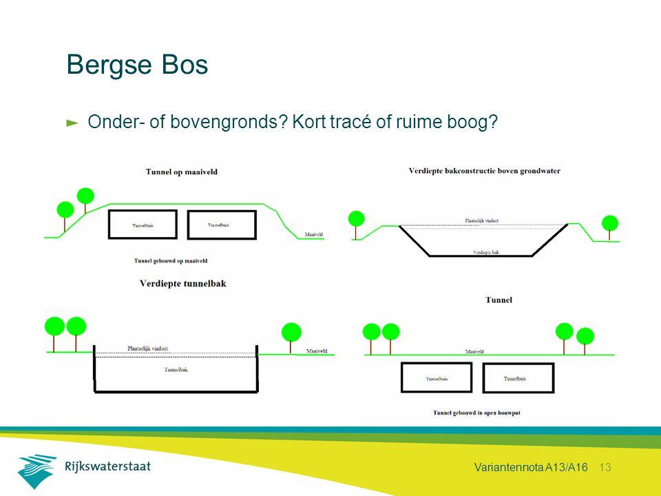 Variantennota A13/A16 13 Bergse Bos Onder- of bovengronds? Kort tracé of ruime boog?