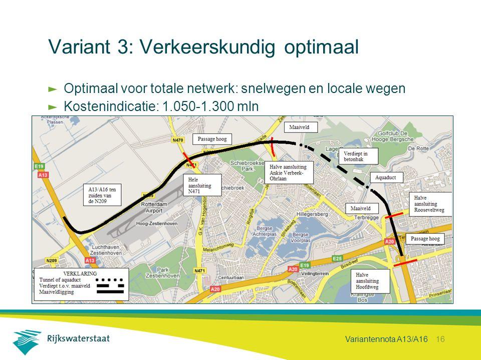 Variantennota A13/A16 16 Variant 3: Verkeerskundig optimaal Optimaal voor totale netwerk: snelwegen en locale wegen Kostenindicatie: 1.050-1.300 mln