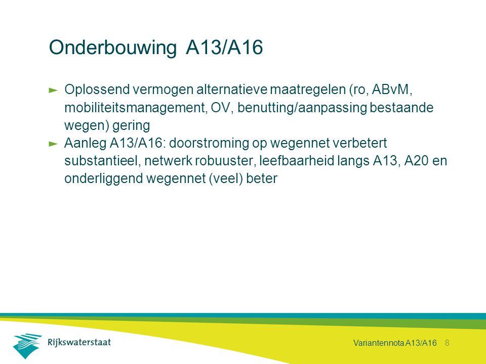 Variantennota A13/A16 8 Onderbouwing A13/A16 Oplossend vermogen alternatieve maatregelen (ro, ABvM, mobiliteitsmanagement, OV, benutting/aanpassing be