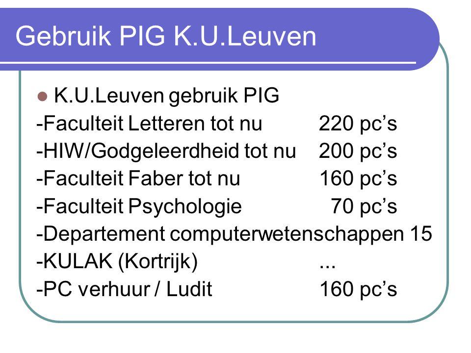 Gebruik PIG K.U.Leuven  K.U.Leuven gebruik PIG -Faculteit Letteren tot nu 220 pc's -HIW/Godgeleerdheid tot nu 200 pc's -Faculteit Faber tot nu 160 pc's -Faculteit Psychologie 70 pc's -Departement computerwetenschappen 15 -KULAK (Kortrijk)...