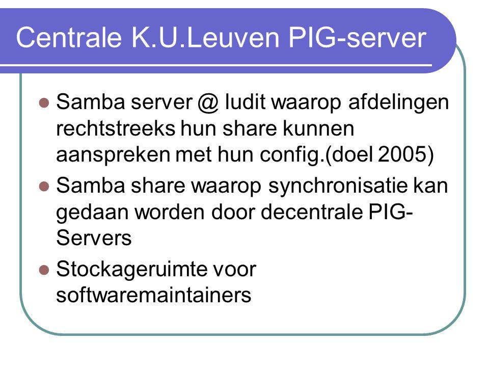 Centrale K.U.Leuven PIG-server  Samba server @ ludit waarop afdelingen rechtstreeks hun share kunnen aanspreken met hun config.(doel 2005)  Samba share waarop synchronisatie kan gedaan worden door decentrale PIG- Servers  Stockageruimte voor softwaremaintainers