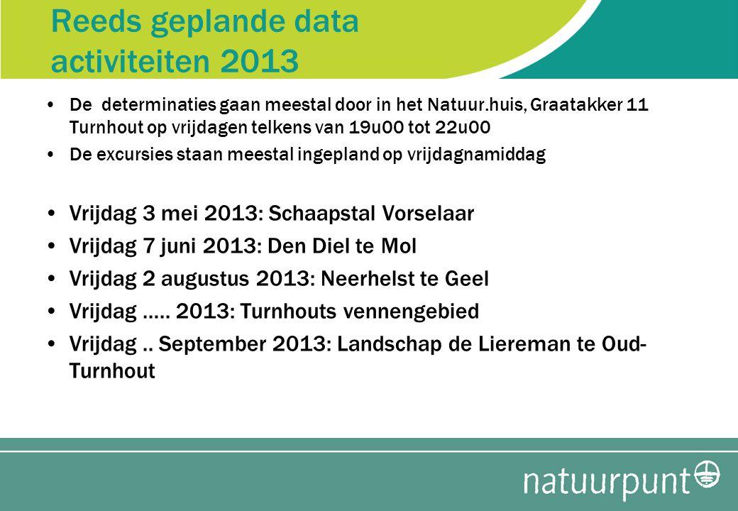 Reeds geplande data activiteiten 2013 •De determinaties gaan meestal door in het Natuur.huis, Graatakker 11 Turnhout op vrijdagen telkens van 19u00 tot 22u00 •De excursies staan meestal ingepland op vrijdagnamiddag •Vrijdag 3 mei 2013: Schaapstal Vorselaar •Vrijdag 7 juni 2013: Den Diel te Mol •Vrijdag 2 augustus 2013: Neerhelst te Geel •Vrijdag …..