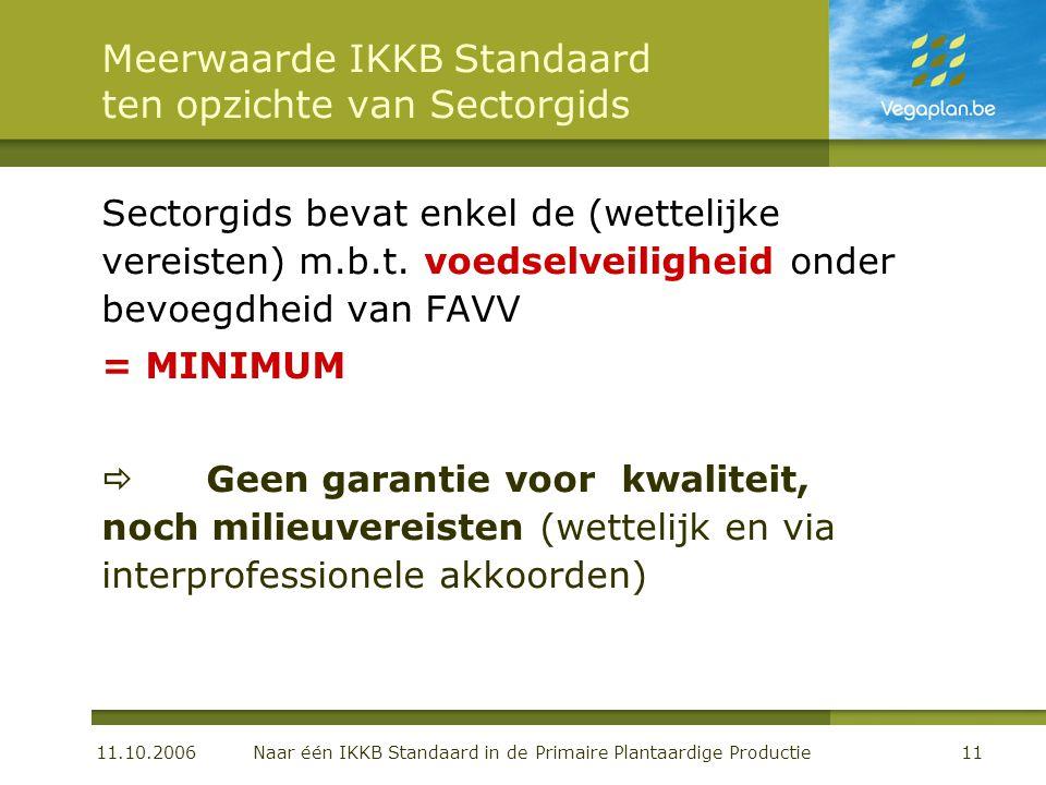 11.10.2006 Naar één IKKB Standaard in de Primaire Plantaardige Productie11 Meerwaarde IKKB Standaard ten opzichte van Sectorgids Sectorgids bevat enkel de (wettelijke vereisten) m.b.t.