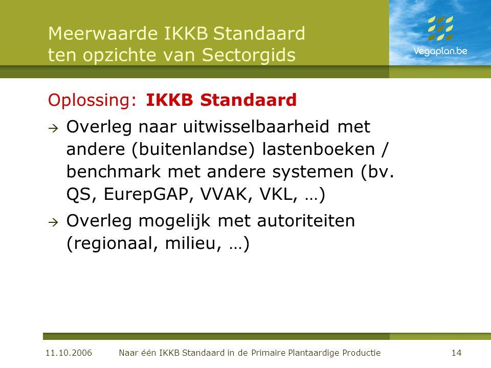 11.10.2006 Naar één IKKB Standaard in de Primaire Plantaardige Productie14 Meerwaarde IKKB Standaard ten opzichte van Sectorgids Oplossing:IKKB Standaard  Overleg naar uitwisselbaarheid met andere (buitenlandse) lastenboeken / benchmark met andere systemen (bv.