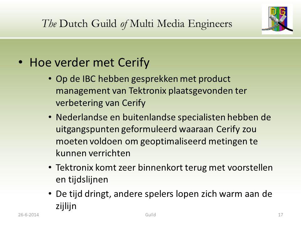 The Dutch Guild of Multi Media Engineers Meerkanaals audio bij (HD-)TV Peter Schut 26-6-201418Guild