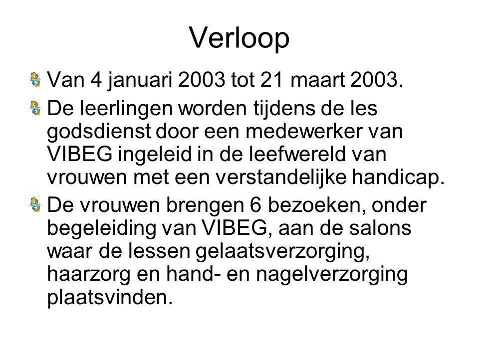 Verloop Van 4 januari 2003 tot 21 maart 2003.