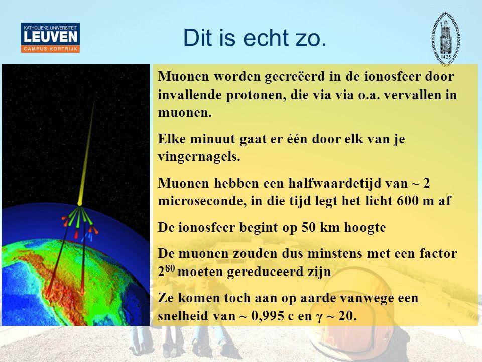 Dit is echt zo. Muonen worden gecreëerd in de ionosfeer door invallende protonen, die via via o.a. vervallen in muonen. Elke minuut gaat er één door e
