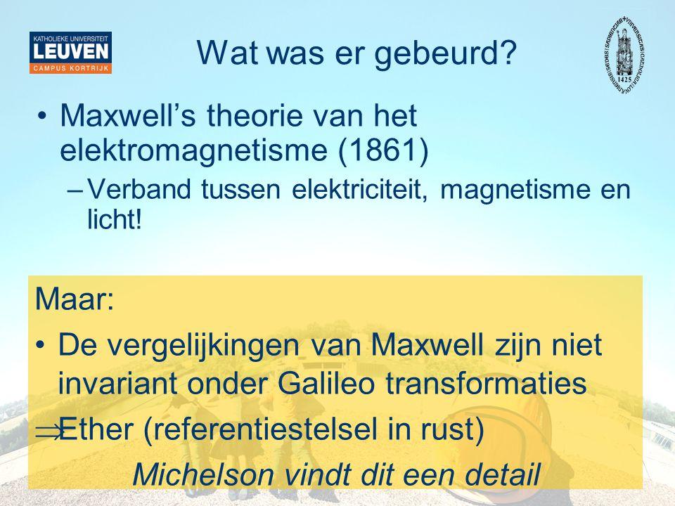 Wat was er gebeurd? •Maxwell's theorie van het elektromagnetisme (1861) –Verband tussen elektriciteit, magnetisme en licht! Maar: •De vergelijkingen v