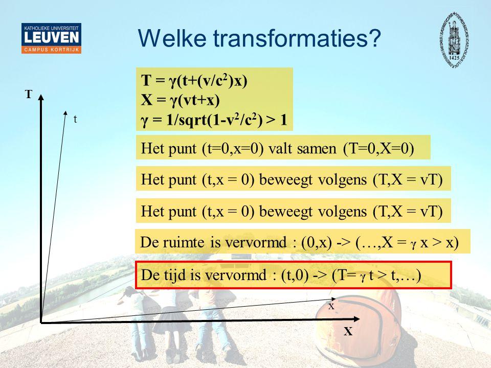 x T = γ(t+(v/c 2 )x) X = γ(vt+x) γ = 1/sqrt(1-v 2 /c 2 ) > 1 Het punt (t,x = 0) beweegt volgens (T,X = vT) Het punt (t=0,x=0) valt samen (T=0,X=0) Het punt (t,x = 0) beweegt volgens (T,X = vT) De tijd is vervormd : (t,0) -> (T= γ t > t,…) De ruimte is vervormd : (0,x) -> (…,X = γ x > x) Welke transformaties.