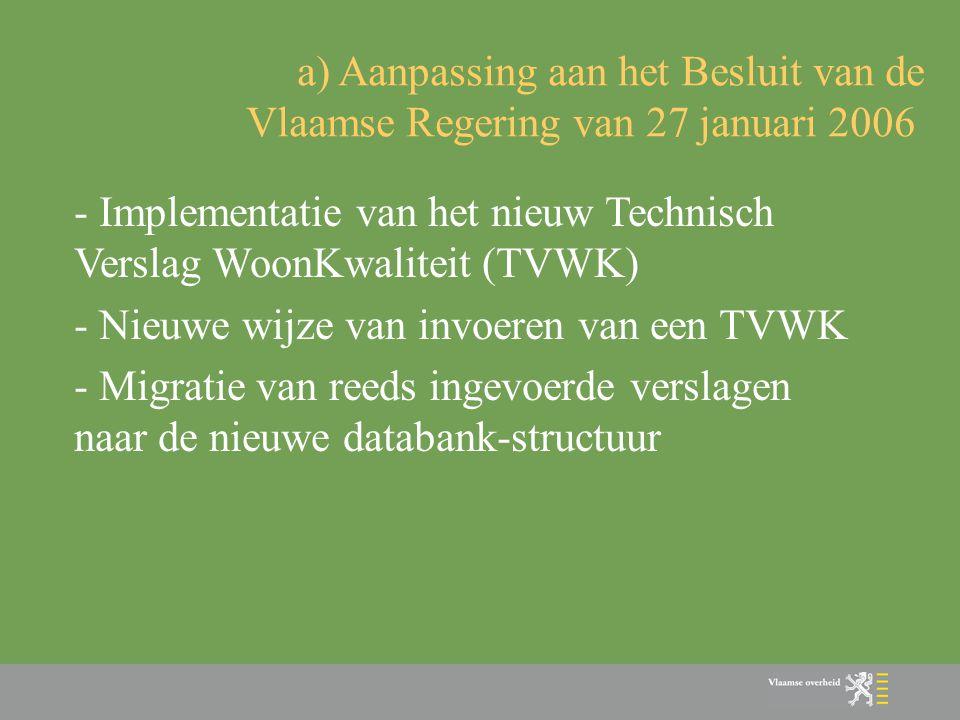 - Implementatie van het nieuw Technisch Verslag WoonKwaliteit (TVWK) - Nieuwe wijze van invoeren van een TVWK - Migratie van reeds ingevoerde verslage