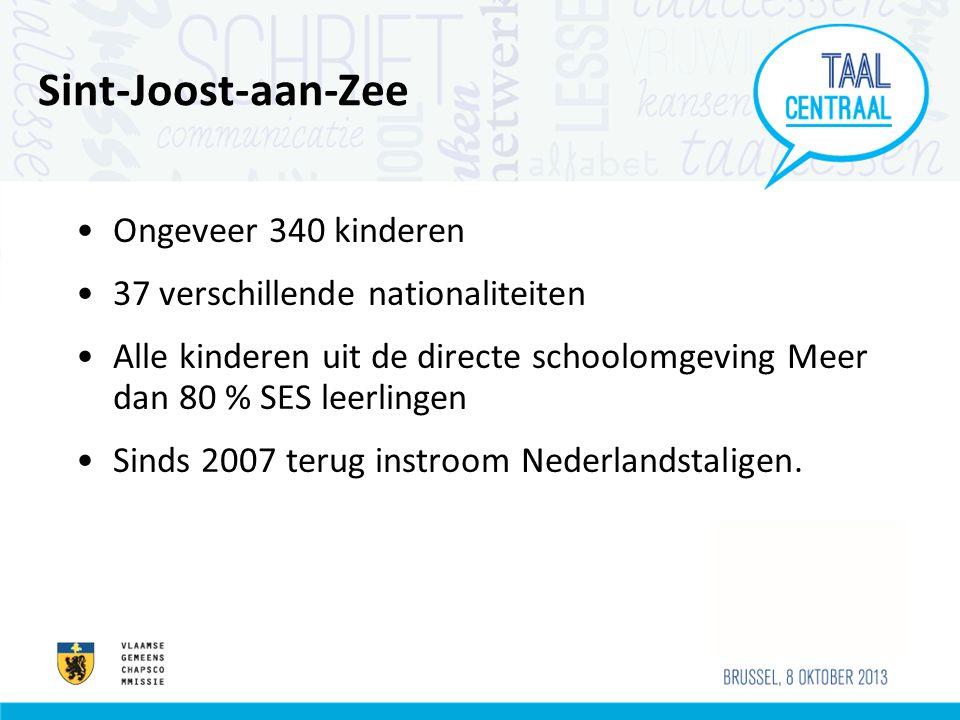Sint-Joost-aan-Zee •Ongeveer 340 kinderen •37 verschillende nationaliteiten •Alle kinderen uit de directe schoolomgeving Meer dan 80 % SES leerlingen •Sinds 2007 terug instroom Nederlandstaligen.