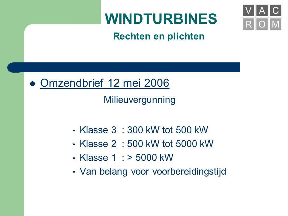 WINDTURBINES Rechten en plichten  Omzendbrief 12 mei 2006 INPLANTING • Grondsokkel 100 à 300 M² • Invloed slagschaduw • Invloed op natuur • Geluidsnormen • Voldoende ruimte voor min.