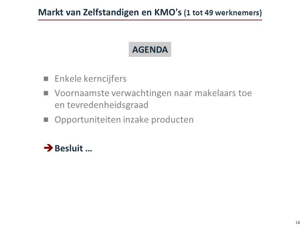 18 Markt van Zelfstandigen en KMO s (1 tot 49 werknemers) n Enkele kerncijfers n Voornaamste verwachtingen naar makelaars toe en tevredenheidsgraad n Opportuniteiten inzake producten  Besluit … AGENDA