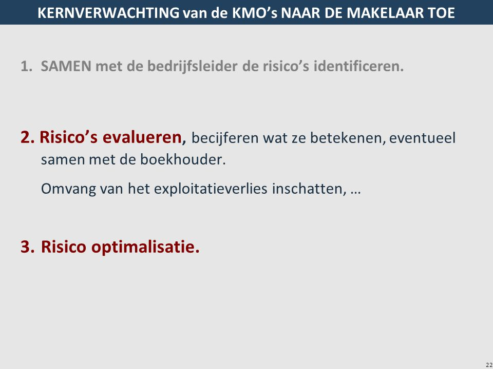 22 KERNVERWACHTING van de KMO's NAAR DE MAKELAAR TOE 1.SAMEN met de bedrijfsleider de risico's identificeren. 2. Risico's evalueren, becijferen wat ze