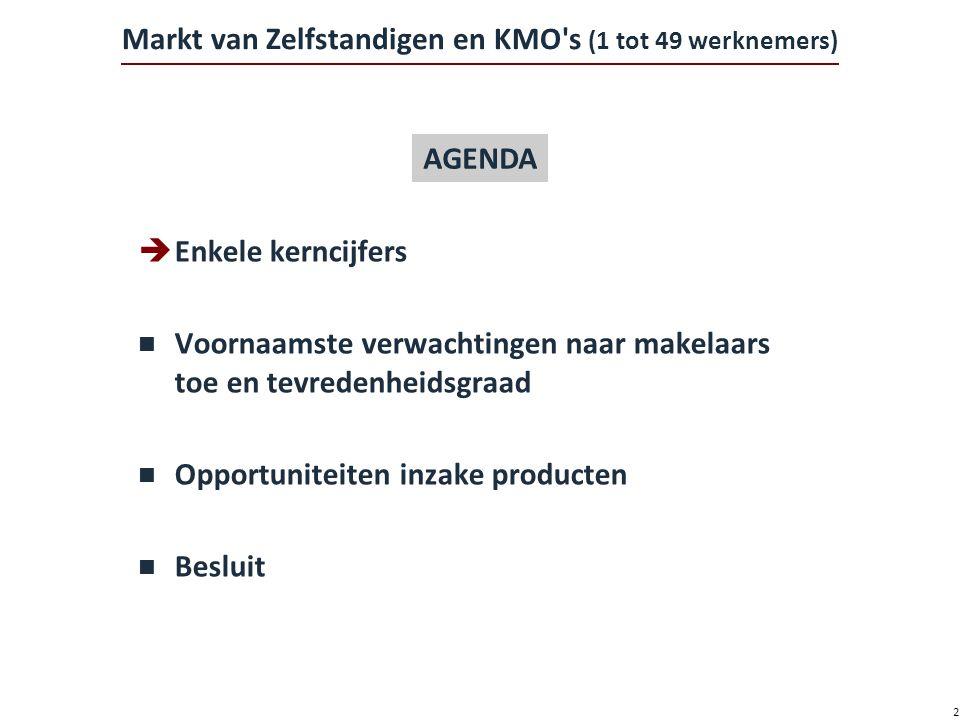 2 Markt van Zelfstandigen en KMO s (1 tot 49 werknemers)  Enkele kerncijfers n Voornaamste verwachtingen naar makelaars toe en tevredenheidsgraad n Opportuniteiten inzake producten n Besluit AGENDA