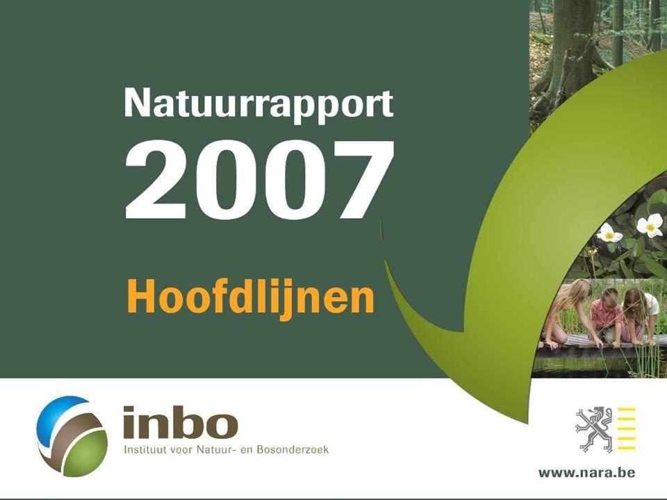 Versnippering Vlaams Ecologisch Netwerk en natuurverwevingsgebieden  Eind 2006:70 % van VEN afgebakend 0,7 % van natuurverwevingsgebied afgebakend Natuurdecreet MINA-plan 2 Ruimtelijk Structuurplan MINA-plan 3 VEN Natuurverwevingsgebied
