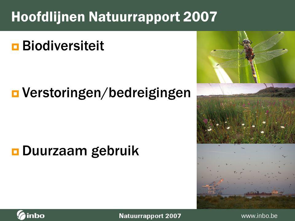  Biodiversiteit Hoofdlijnen Natuurrapport 2007  Verstoringen/bedreigingen  Duurzaam gebruik
