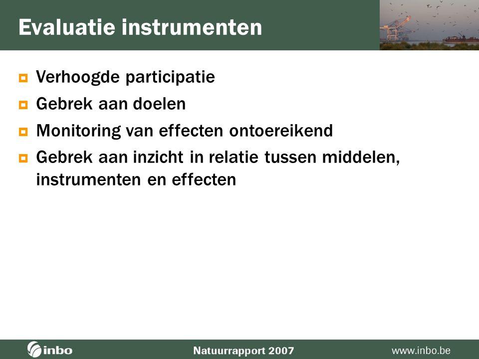  Verhoogde participatie  Gebrek aan doelen •Natuurrichtplannen •Instandhoudingsdoelen (Habitatrichtlijn) Evaluatie instrumenten opmaak opgestart Doe