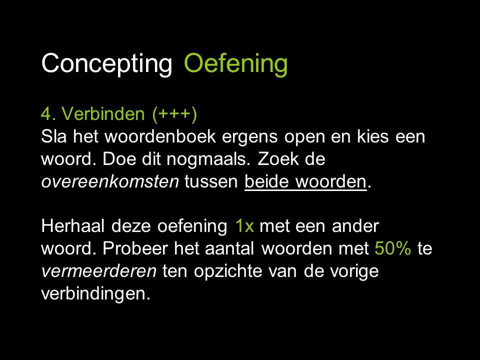 Concepting Oefening 4. Verbinden (+++) Sla het woordenboek ergens open en kies een woord. Doe dit nogmaals. Zoek de overeenkomsten tussen beide woorde