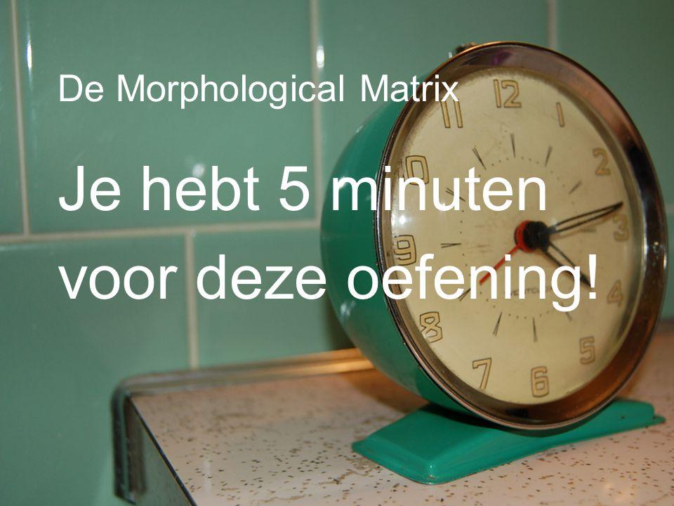 De Morphological Matrix Je hebt 5 minuten voor deze oefening!