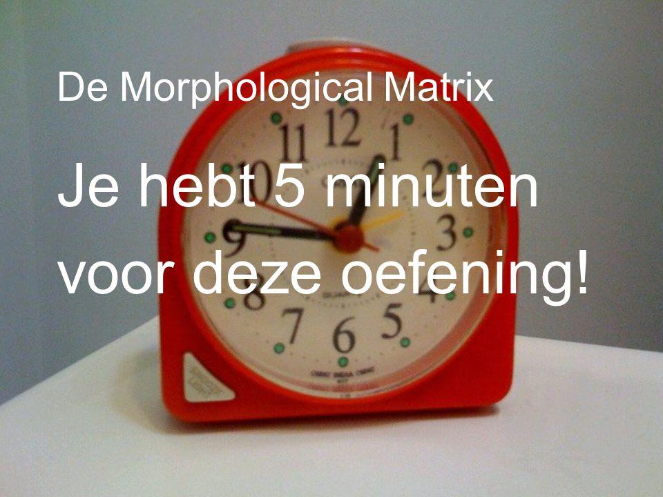 Je hebt 5 minuten voor deze oefening! De Morphological Matrix