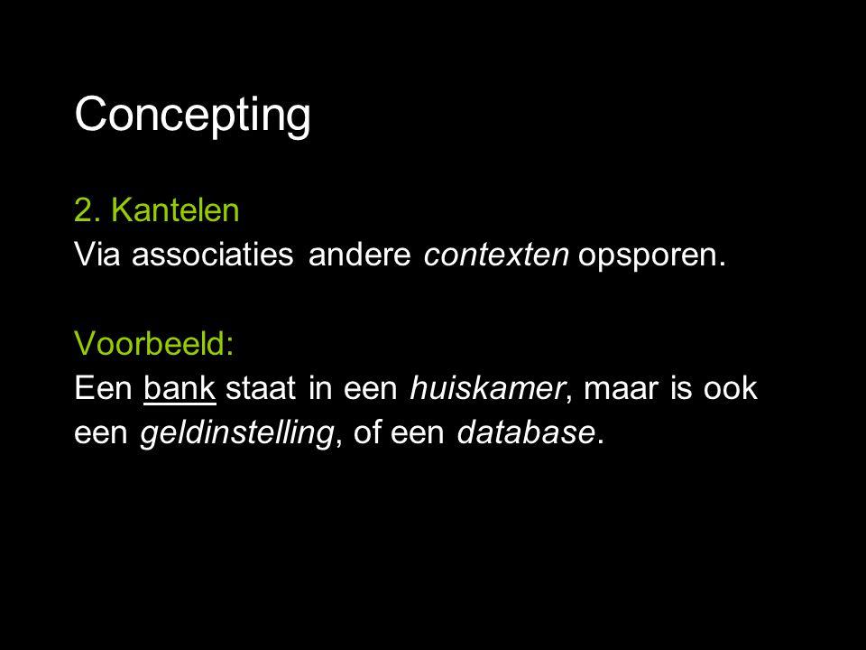 Concepting 2. Kantelen Via associaties andere contexten opsporen. Voorbeeld: Een bank staat in een huiskamer, maar is ook een geldinstelling, of een d