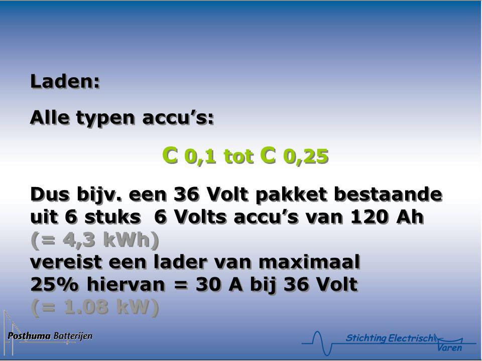 Laden: Alle typen accu's: C 0,1 tot C 0,25 Dus bijv. een 36 Volt pakket bestaande uit 6 stuks 6 Volts accu's van 120 Ah (= 4,3 kWh) vereist een lader
