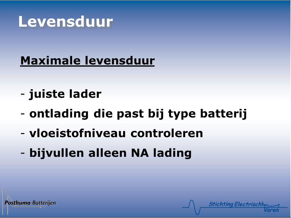 Levensduur Maximale levensduur - juiste lader - ontlading die past bij type batterij - vloeistofniveau controleren - bijvullen alleen NA lading