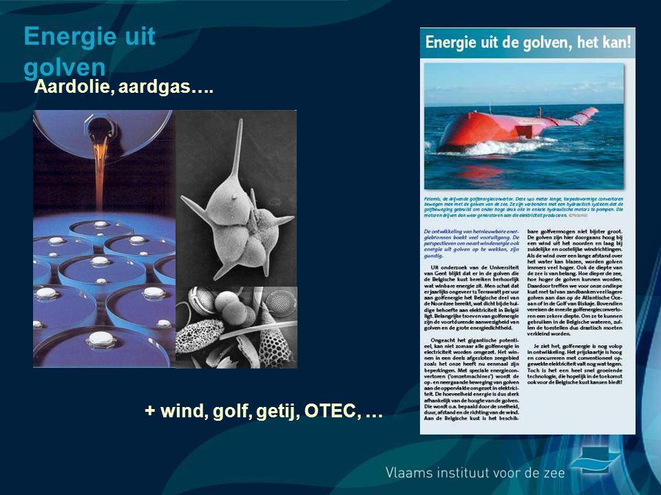 Energie uit golven Aardolie, aardgas…. + wind, golf, getij, OTEC, …