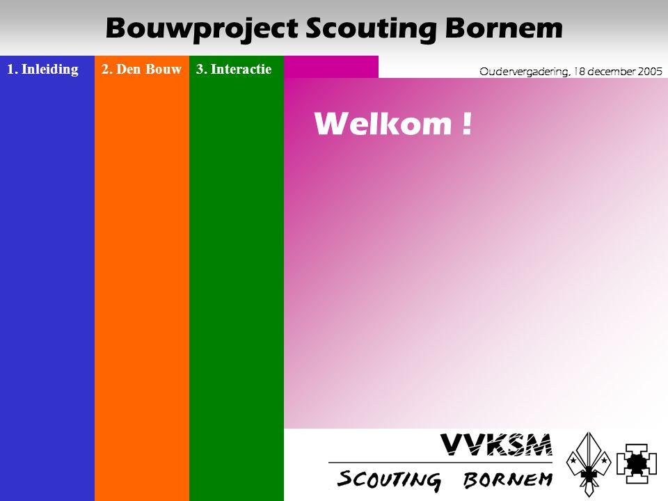 1. Inleiding2. Den Bouw3. Interactie Oudervergadering, 18 december 2005 Bouwproject Scouting Bornem 1 Welkom !