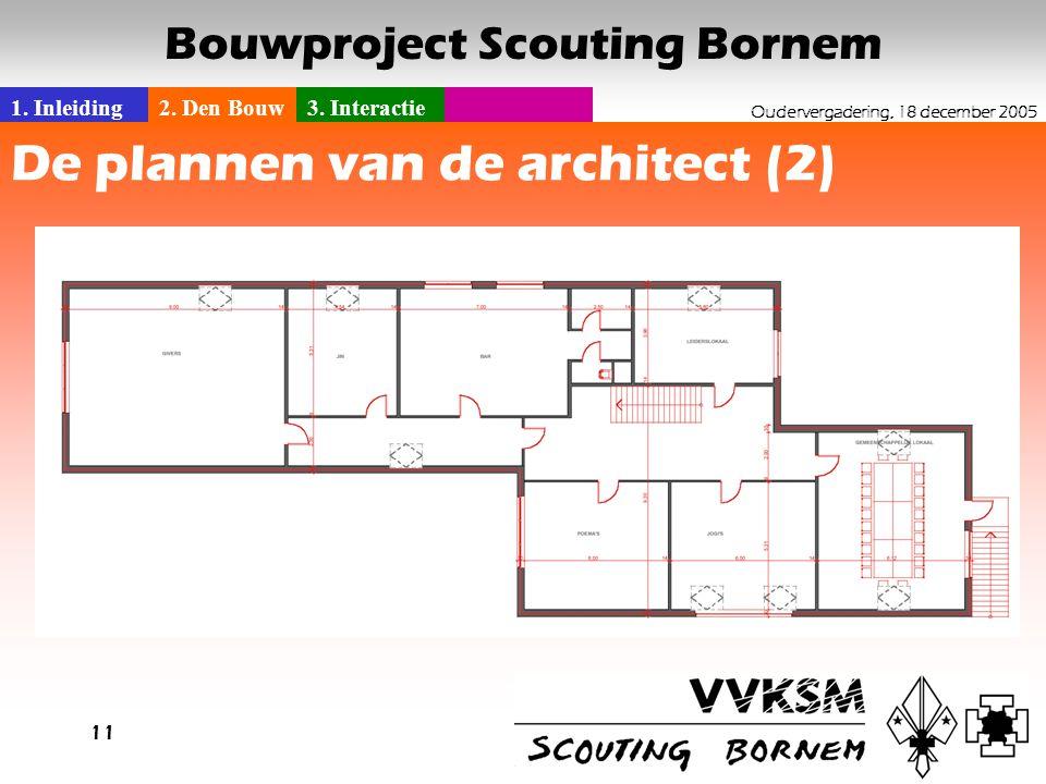 1. Inleiding2. Den Bouw3. Interactie Oudervergadering, 18 december 2005 Bouwproject Scouting Bornem 11 De plannen van de architect (2)