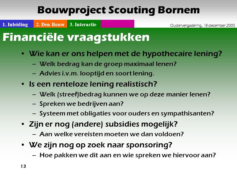 1. Inleiding2. Den Bouw3. Interactie Oudervergadering, 18 december 2005 Bouwproject Scouting Bornem 13 Financiële vraagstukken •Wie kan er ons helpen