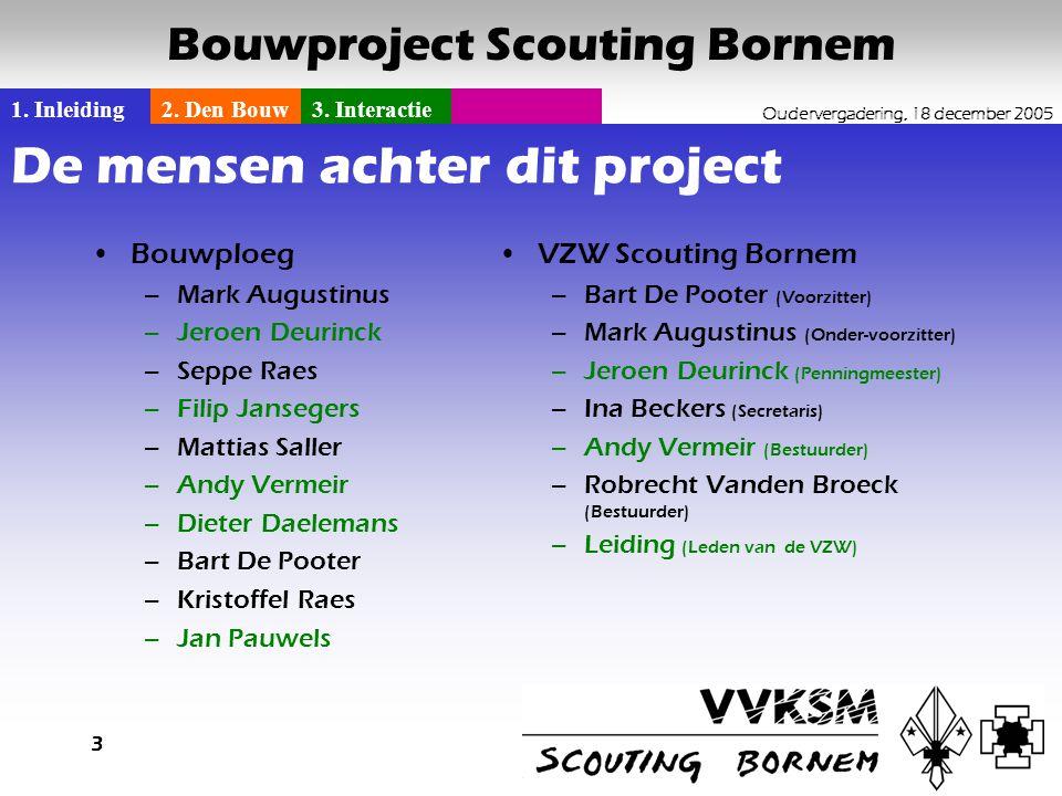 1. Inleiding2. Den Bouw3. Interactie Oudervergadering, 18 december 2005 Bouwproject Scouting Bornem 3 De mensen achter dit project •Bouwploeg –Mark Au