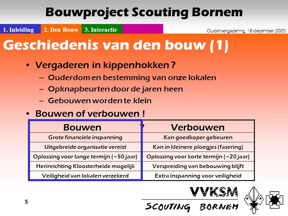 1. Inleiding2. Den Bouw3. Interactie Oudervergadering, 18 december 2005 Bouwproject Scouting Bornem 5 Geschiedenis van den bouw (1) •Vergaderen in kip