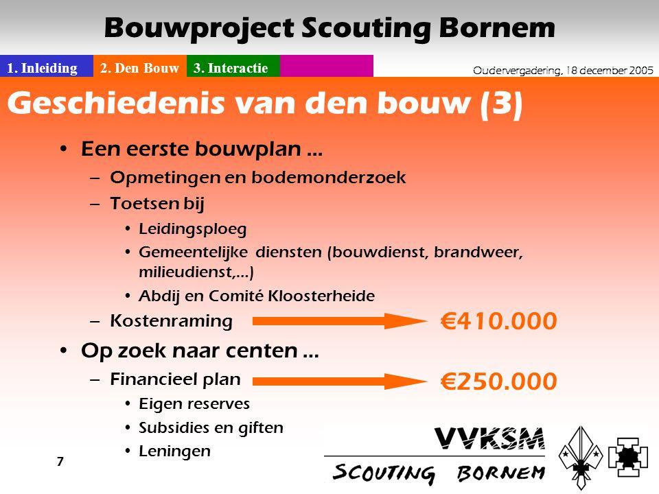 1. Inleiding2. Den Bouw3. Interactie Oudervergadering, 18 december 2005 Bouwproject Scouting Bornem 7 Geschiedenis van den bouw (3) •Een eerste bouwpl